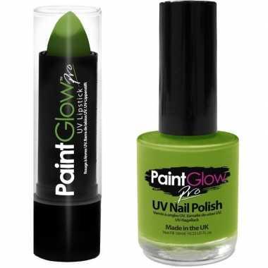 Carnavalskleding neon groene uv lippenstift/lipstick nagellak schmink