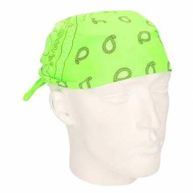 Carnavalskleding neon groene zakdoek bandana arnhem