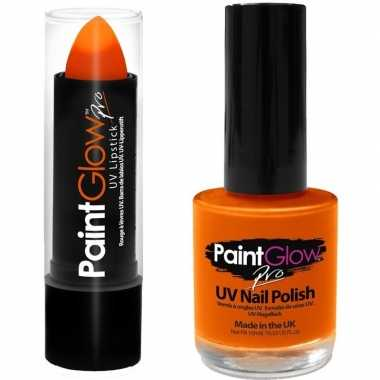 Carnavalskleding neon oranje uv lippenstift/lipstick nagellak schmink