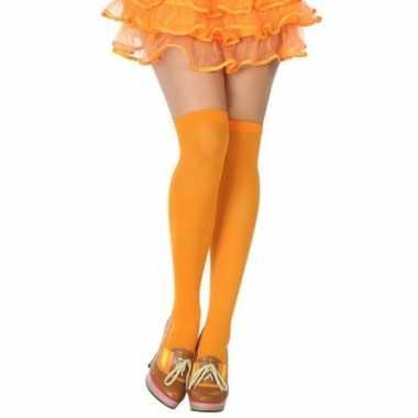 Carnavalskleding neon oranje verkleed kousen dames arnhem