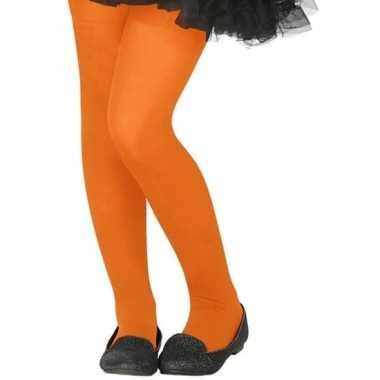 Carnavalskleding neon oranje verkleed panty kinderen arnhem