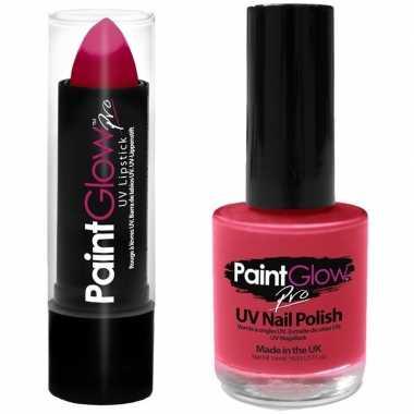 Carnavalskleding neon roze uv lippenstift/lipstick nagellak schmink s