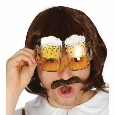 Carnavalskleding oktoberfest bier pullen verkleed bril volwassenen ar
