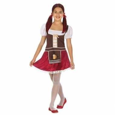 Carnavalskleding oktoberfest tiroler verkleed jurk bruin/rood meisjes