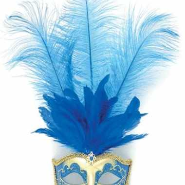 Carnavalskleding oog masker blauwe veren arnhem