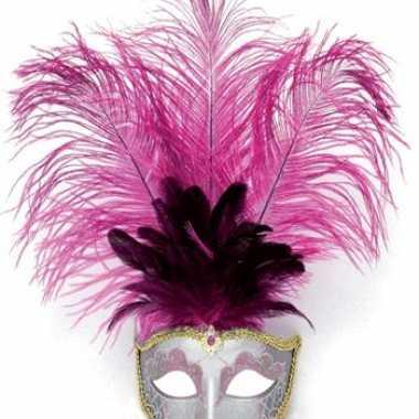 Carnavalskleding oog masker roze veren arnhem