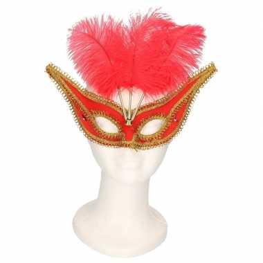 Carnavalskleding oogmasker rood/goud veren volwassenen arnhem