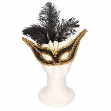 Carnavalskleding oogmasker zwart/goud veren volwassenen arnhem
