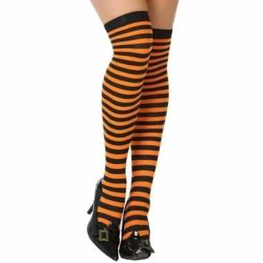 Carnavalskleding oranje/zwarte gestreepte verkleed kousen dames arnhe