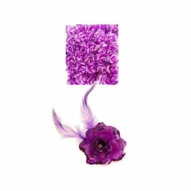 Carnavalskleding paarse deco bloem speld/elastiek arnhem