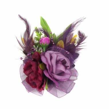 Carnavalskleding paarse haarbloemen klem arnhem