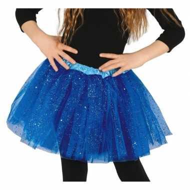 Carnavalskleding petticoat/tutu verkleed rokje kobalt blauw glitters
