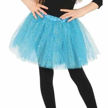 Carnavalskleding petticoat/tutu verkleed rokje lichtblauw glitters me