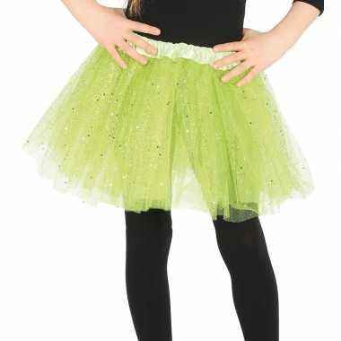 Carnavalskleding petticoat/tutu verkleed rokje lime groen glitters me