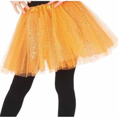 Carnavalskleding petticoat/tutu verkleed rokje oranje glitters meisje
