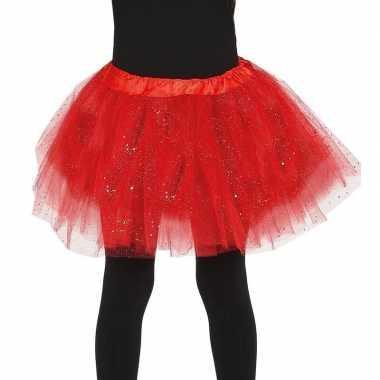Carnavalskleding petticoat/tutu verkleed rokje rood glitters meisjes