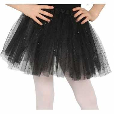 Carnavalskleding petticoat/tutu verkleed rokje zwart glitters meisjes