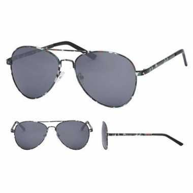 Carnavalskleding pilotenbril legerprint zwarte glazen volwassenen arn