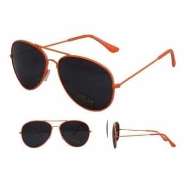 Carnavalskleding pilotenbril neon oranje zwarte glazen volwassenen ar