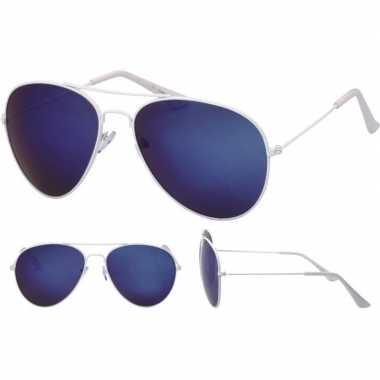 Carnavalskleding pilotenbril wit blauwe glazen volwassenen arnhem