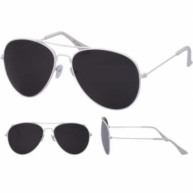Carnavalskleding pilotenbril wit zwarte glazen volwassenen arnhem