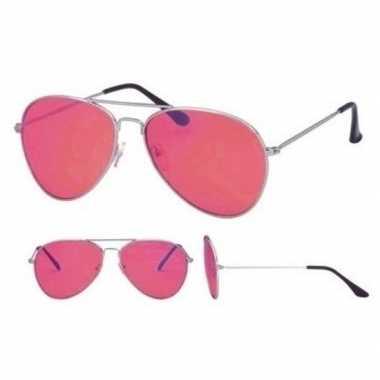 Carnavalskleding pilotenbril zilver roze glazen volwassenen arnhem