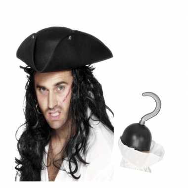 Carnavalskleding piraat accessoires verkleedset direhoekige hoed pira