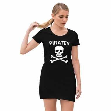 Carnavalskleding piraten verkleed jurkje doodshoofd zwart dames arnhe