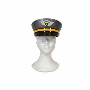 Carnavalskleding plastic politiepet grijs volwassenen arnhem