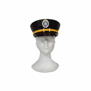 Carnavalskleding plastic politiepet zwart volwassenen arnhem