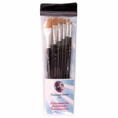 Carnavalskleding platte schuine schmink penselen set synthetisch arnh