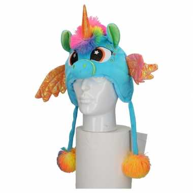 Carnavalskleding pluche blauwe eenhoorn muts kinderen arnhem