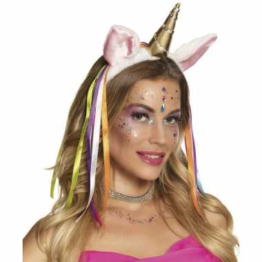 Carnavalskleding pluche eenhoorn diadeem regenboog linten arnhem