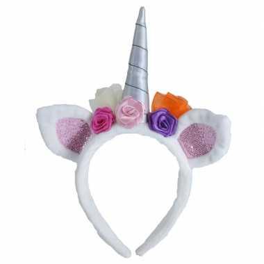 Carnavalskleding pluche eenhoorn diadeem wit bloemen arnhem