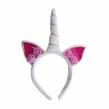 Carnavalskleding pluche eenhoorn diadeem wit/roze arnhem