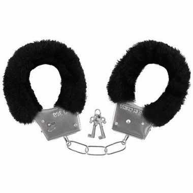 Carnavalskleding pluche handboeien zwart volwassenen arnhem