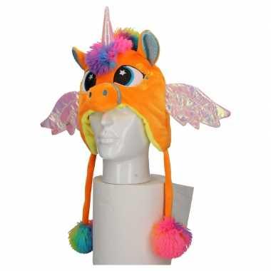Carnavalskleding pluche oranje eenhoorn muts kinderen arnhem