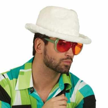 Carnavalskleding pluche pooier hoed wit arnhem