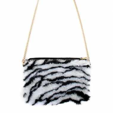 Carnavalskleding pluche tasje zebra print dames arnhem