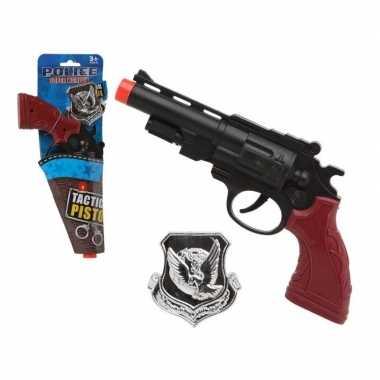 Carnavalskleding politie speelgoed pistool/pistolen zwart arnhem