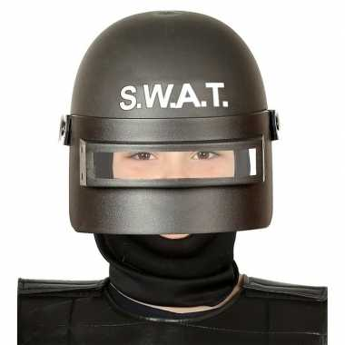 Carnavalskleding politie swat verkleed helm vizier kinderen zwart arn
