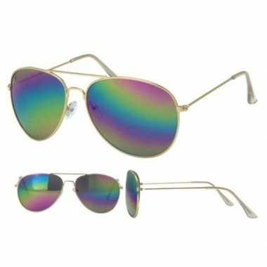 Carnavalskleding politiebril goud olie/spiegel glazenvoor volwassenen