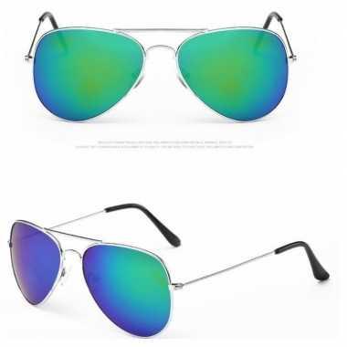 Carnavalskleding politiebril zilver blauw/groene glazen volwassene ar