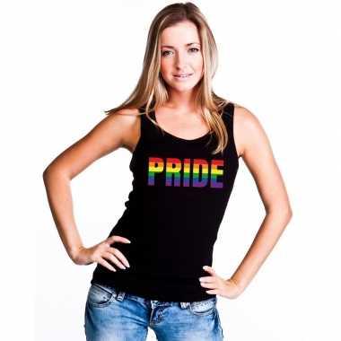 Carnavalskleding pride regenboog tekst singlet shirt/ tanktop zwart d