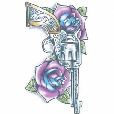 Carnavalskleding realistische revolver tattoo vel arnhem