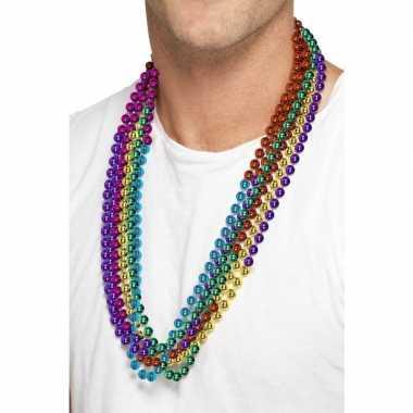 Carnavalskleding regenboog gekleurde kralen kettingen stuks arnhem