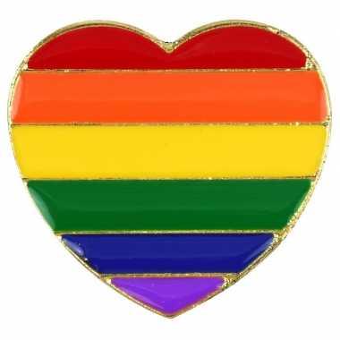 Carnavalskleding regenboog pride hart metalen pin/broche arnhem