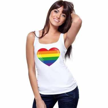 Carnavalskleding regenboog vlag hart singlet shirt/ tanktop wit dames