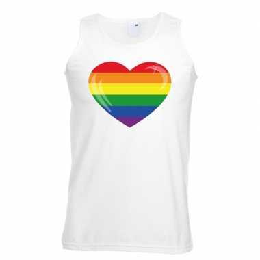 Carnavalskleding regenboog vlag hart singlet shirt/ tanktop wit heren