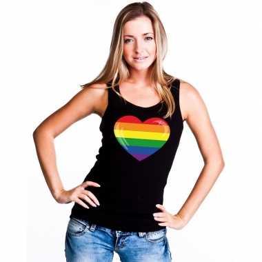 Carnavalskleding regenboog vlag hart singlet shirt/ tanktop zwart dam